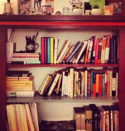 my precious bookshelf, not to be re-arranged by anyone else.